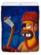 Hockey Homer Duvet Cover by Marlon Huynh