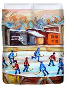 Hockey In The City Outdoor Hockey Rink Montreal Memories Winter City Scenes Painting Carole Spandau Duvet Cover by Carole Spandau