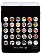 Hockey League Logos Bottle Caps Duvet Cover by Barbara Griffin