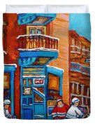 Hockey Stars At Wilensky's Diner Street Hockey Game Paintings Of Montreal Winter  Carole Spandau Duvet Cover by Carole Spandau