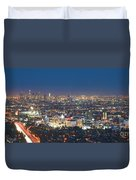 Hollywood Skyline Night Magic Hour Los Angeles Ca  Duvet Cover by David Zanzinger