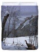 Home Through The Snow Duvet Cover by Ron Jones