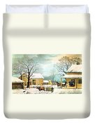 Home To Thanksgiving Duvet Cover by Currier and Ives