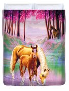 Horse And Foal Duvet Cover by Andrew Farley