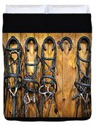 Horse Bridles Hanging In Stable Duvet Cover by Elena Elisseeva