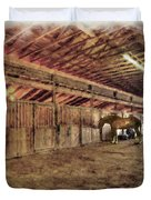 Horse In Barn Duvet Cover by Dan Friend
