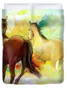 Horse Paintings 009 Duvet Cover by Catf