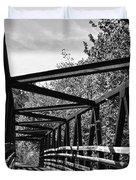 Horse Pen Creek Bridge Black And White Duvet Cover by Sandi OReilly