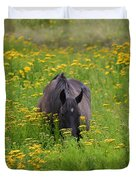 Horse Power Flower Power Duvet Cover by Bob Hislop
