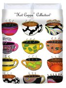 Hot Cuppa Whimsical Colorful Coffee Cup Designs By Romi Duvet Cover by Megan Duncanson