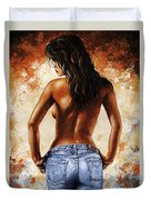 Hot Jeans 02 Blue Duvet Cover by Emerico Imre Toth