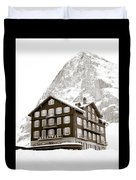 Hotel Des Alpes And Eiger North Face Duvet Cover by Frank Tschakert
