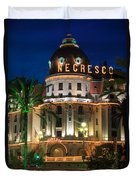 Hotel Negresco By Night Duvet Cover by Inge Johnsson