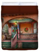 House - Porch - Metuchen Nj - That Yule Tide Spirit Duvet Cover by Mike Savad