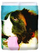 How Bout A Kiss - St Bernard Art by Sharon Cummings Duvet Cover by Sharon Cummings