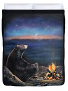 How Grandfather Bear Created The Stars Duvet Cover by J W Baker