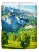 How Green Was My Valley Duvet Cover by Ayse Deniz