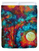 Huge Colorful Abstract Landscape Art Circles Tree Original Painting Delightful By Madart Duvet Cover by Megan Duncanson