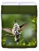 Hummingbird Happy Dance Duvet Cover by Christina Rollo