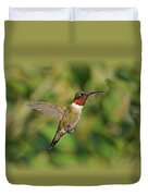 Hummingbird In Flight Duvet Cover by Sandy Keeton