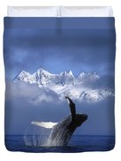 Humpback Whale Breaches In Clearing Fog Duvet Cover by John Hyde