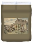 Hungarian Gypsies Outside Carcassonne Duvet Cover by French School