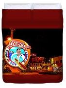 Huntington Beach Downtown Nightside 2 Duvet Cover by Jim Carrell