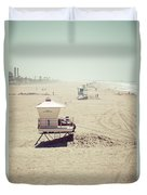Huntington Beach Lifeguard Tower #1 Vintage Picture Duvet Cover by Paul Velgos
