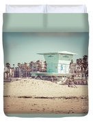Huntington Beach Lifeguard Tower #5 Retro Picture Duvet Cover by Paul Velgos