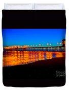 Huntington Beach Pier - Nightside Duvet Cover by Jim Carrell