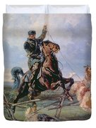 Huntsman with the Borzois Duvet Cover by Rudolph Frenz