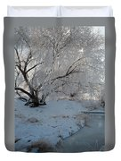 Ice Covered Tree And Creek In Montana Duvet Cover by Bruce Gourley