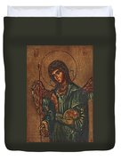 Icon Of Archangel Michael - Painting On The Wood Duvet Cover by Nenad Cerovic