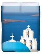 Iconic Blue Cupola Overlooking The Sea Santorini Greece Duvet Cover by Matteo Colombo