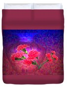 Impressions Of Pink Carnations Duvet Cover by Joyce Dickens