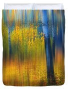 In The Golden Woods. Impressionism Duvet Cover by Jenny Rainbow