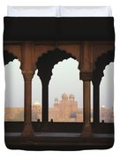 India, View Of Red Fort From Jama Duvet Cover by Richard Maschmeyer