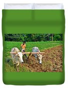 Indian Farmer Plowing With Bulls Duvet Cover by Image World