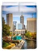 Indianapolis Skyline Picture Of Canal Walk In Autumn Duvet Cover by Paul Velgos