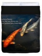 Inspirational - Gathering Fish Of Every Kind - Matthew 13-47 Duvet Cover by Mike Savad