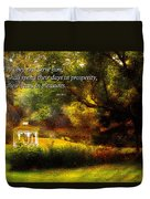 Inspirational - Prosperity - Job 36-11 Duvet Cover by Mike Savad
