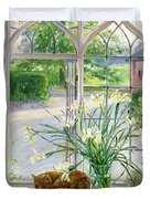 Irises and Sleeping Cat Duvet Cover by Timothy Easton