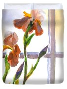 Irises in the Window Duvet Cover by Kip DeVore
