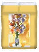 Irises With Stars Of Bethlehem Duvet Cover by Kip DeVore