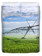 Irrigation Equipment On Farm Field Duvet Cover by Elena Elisseeva