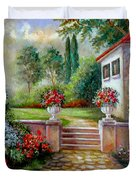 Italyan Villa With Garden  Duvet Cover by Regina Femrite