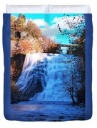 Ithaca Water Falls New York Panoramic Photography Duvet Cover by Paul Ge