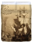 It's Five O'clock Somewhere Schooner Duvet Cover by John Stephens