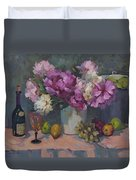 J. P. Chenet And Peonies Duvet Cover by Diane McClary