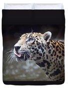 Jaguar Sticking Out Tongue Duvet Cover by Shoal Hollingsworth